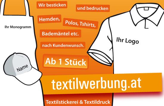 Textilstickerei Wien ab 1 Stück